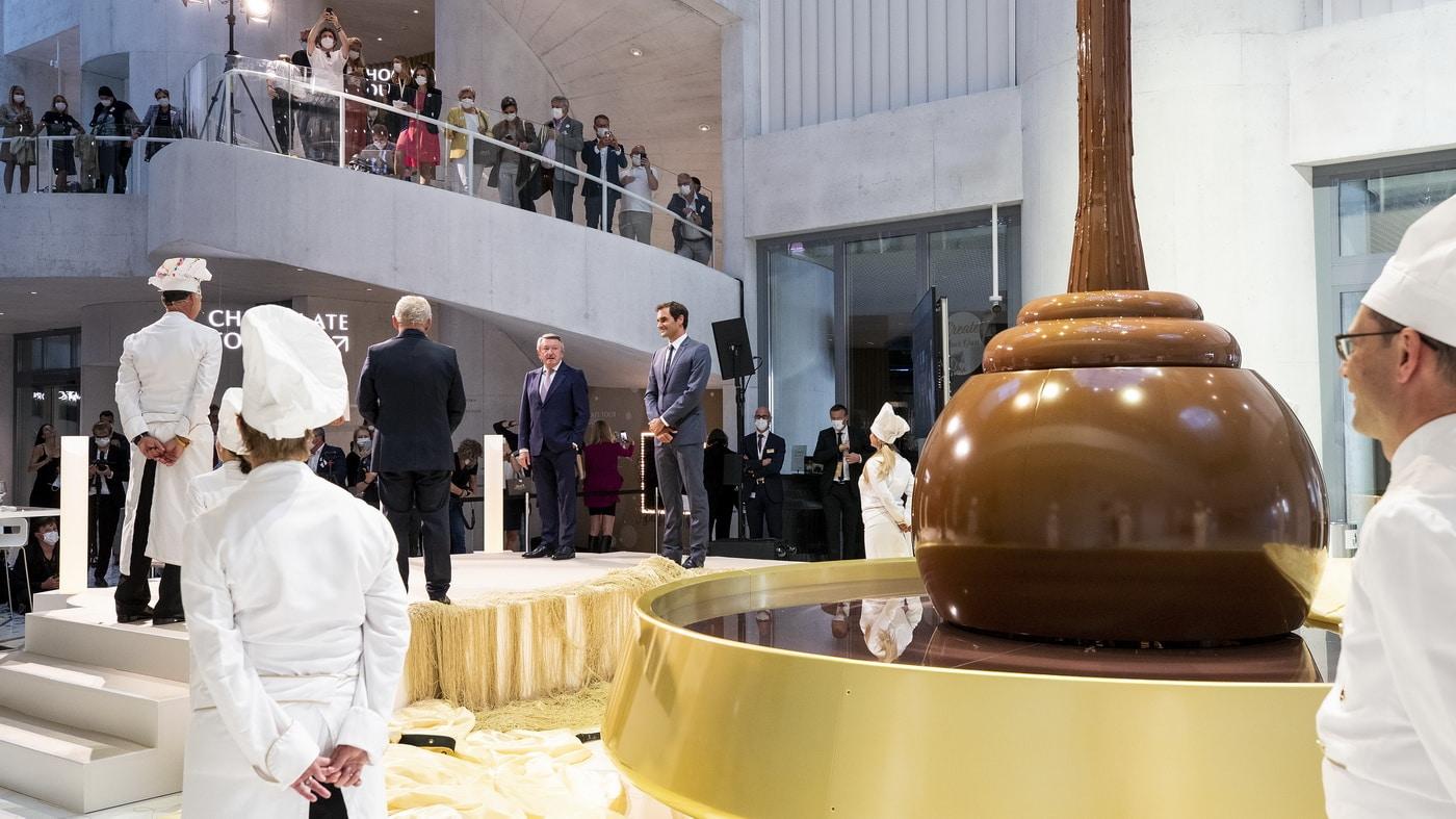 Roger Federer im Lindt Home of Chocolate (c) Lindt & Sprüngli / KEYSTONE / Alexandra Wey